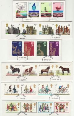 1978 FDC Cut Outs x 6 Sets For FU Stamps (79250)