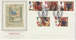 1991-11-12 Christmas Stamps Shrewsbury PPS Silk FDC (79318)