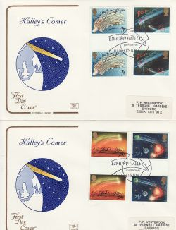 1986-02-18 Halley's Comet Gutters Haggerston x2 FDC (79429)