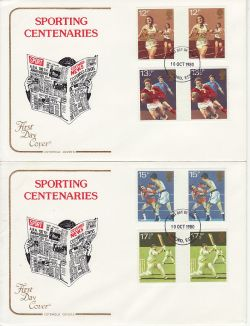 1980-10-10 Sport Gutter Stamps Ilford x2 FDC (79430)