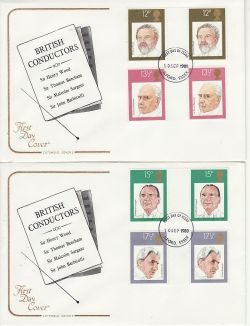 1980-09-10 British Conductors Gutter Stamps x2 FDC (79431)