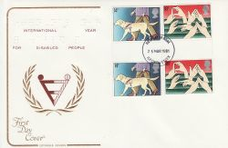 1981-03-25 Year of Disabled Gutter Stamps Ilford FDC (79436)