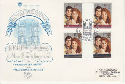 1986-07-22 Royal Wedding Gutter Stamps London SW1 FDC (79494)
