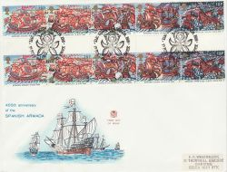 1988-07-19 Armada Gutter Stamps Tilbury FDC (79506)