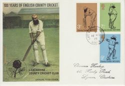 1973-05-16 Cricket Stamps Latchford Lancs cds FDC (79847)