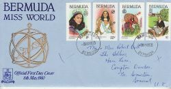 1980-05-08 Bermuda Miss World Stamps FDC (79929)