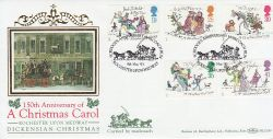 1993-11-09 Christmas Rochester Upon Medway Silk FDC (80150)