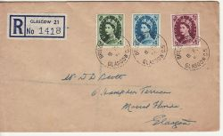 1954-02-08 Wilding Definitive Stamps Glasgow cds FDC (80293)