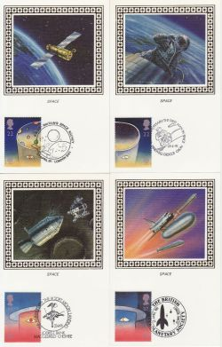 1991-04-23 Europe in Space Stamps x4 Benham Cards FDC (80972)