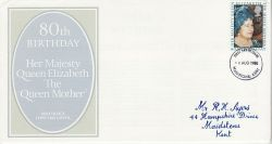 1980-08-04 Queen Mother Stamp Maidstone FDC (81227)