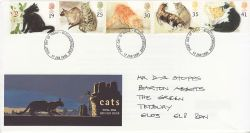1995-01-17 Cats Stamps Glos FDC (81235)
