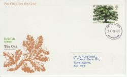 1973-02-28 British Trees Stamp Birmingham FDC (81254)