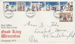 1973-11-28 Christmas Stamps Gloucestershire FDC (82044)