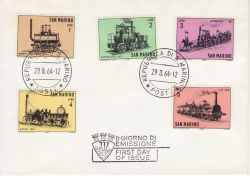 1964-08-29 San Marino Old Locomotives Stamps FDC (82292)
