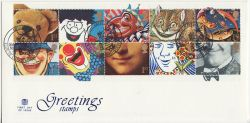 1991-03-26 Greetings Stamps Clowne FDC (82925)