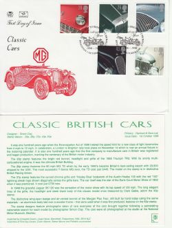 1996-10-01 Classic Cars Stamps Brighton FDC (83059)