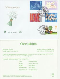 2002-03-05 Occasions Greetings Stamps Love Lane FDC (83231)