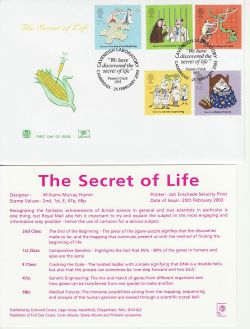 2003-02-25 Secret of Life DNA Stamps Cambridge FDC (83254)