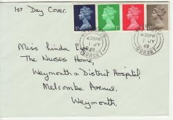 1968-07-01 Definitive Stamps Weymouth cds FDC (83489)
