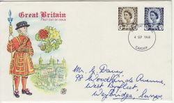 1968-09-04 Wales Definitive Stamps Cardiff FDC (83493)