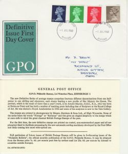 1968-07-01 Definitive Stamps Oxford FDC (83499)
