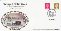 1992-01-21 Definitive 50p PCP + New 3p Windsor FDC (83581)