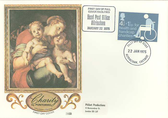 1975-01-22 Charity Stamp Altrincham H PO FDC (891)