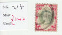 1887-1900 QV SG214 1s green and red used (qvb29)