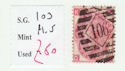 1867-80 QV SG103 3d plate 5 used stamp (qvb32)