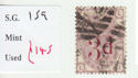 1880-83 QV SG159 3d on 3d lilac plate 21 Used Stamp (qvb5)