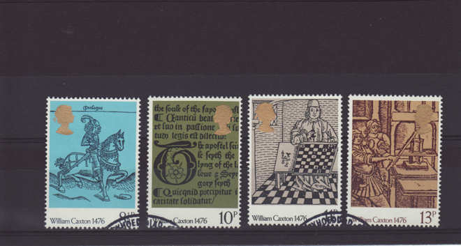 British Printing, William Caxton Stamps 1976