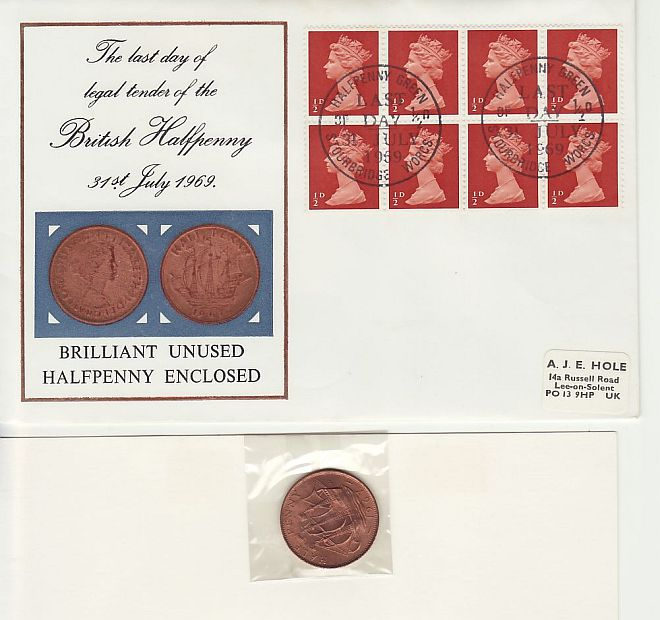 1969-07-31 Last Day of Halfpenny Stamps Coin Cover (69441